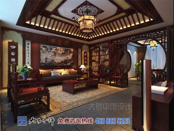 别墅中式客厅效果图