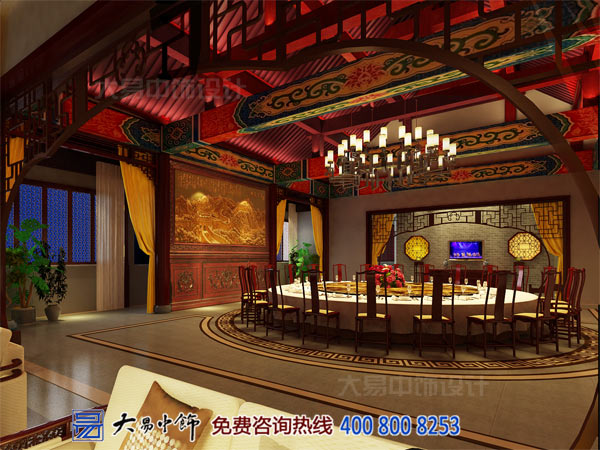 中式宴会厅侧视设计