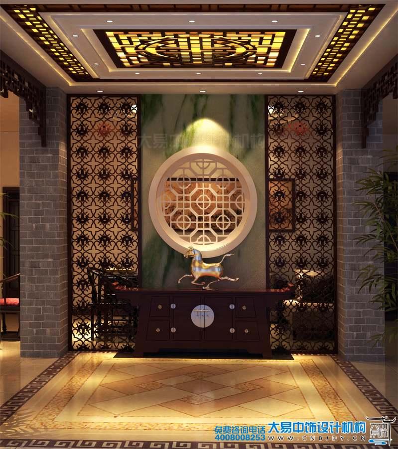 现代中式风格餐饮餐厅装修 室内大包房设计红木餐桌
