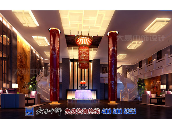 現代中式酒店大堂設計
