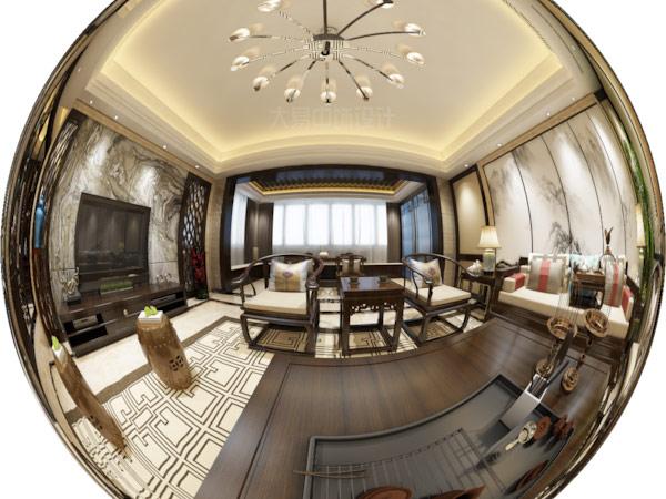 现代新中式风格客厅室内装修3DVR效果图