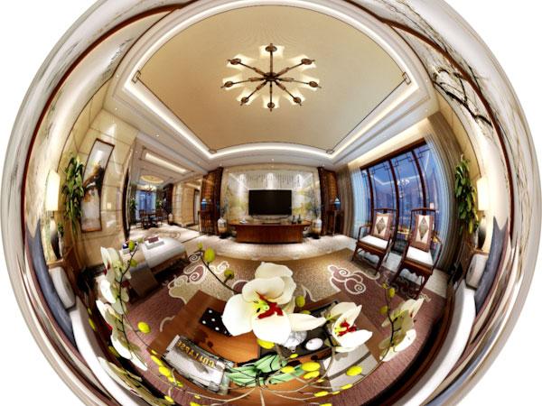 简中室内客厅中式设计3D全景图