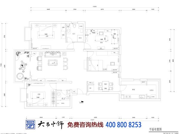 简约中式住宅装修平面图