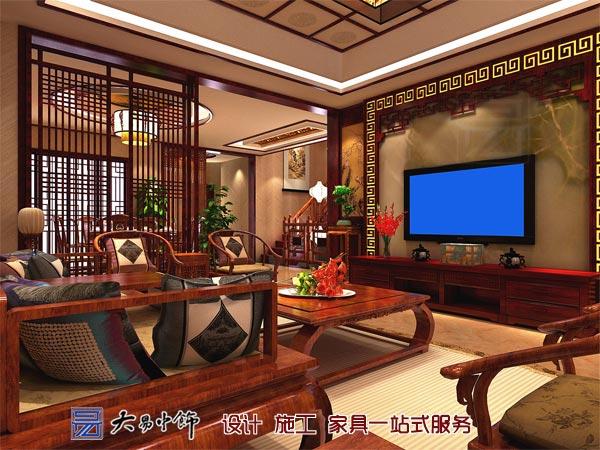 客厅中式电视墙设计