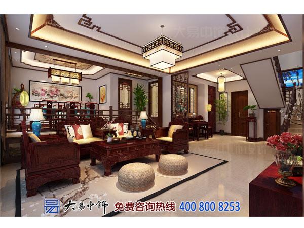 别墅客厅中式设计效果图