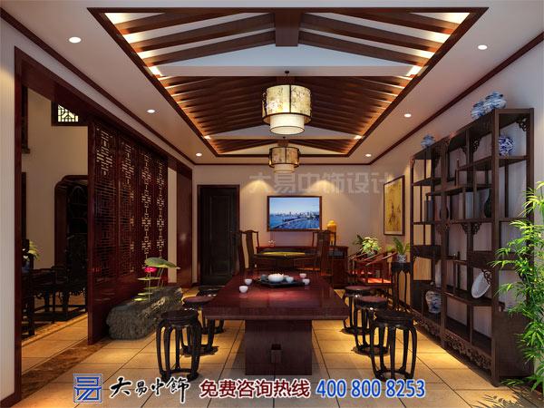 中式独栋别墅室内茶室装修设计效果图