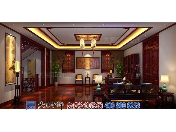 中式别墅大书房设计装修效果