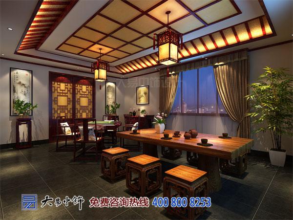 四合院茶室中式设计效果图