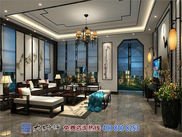 别墅中式客厅装修设计效果图