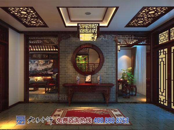 复式楼层别墅中式玄关设计效果图