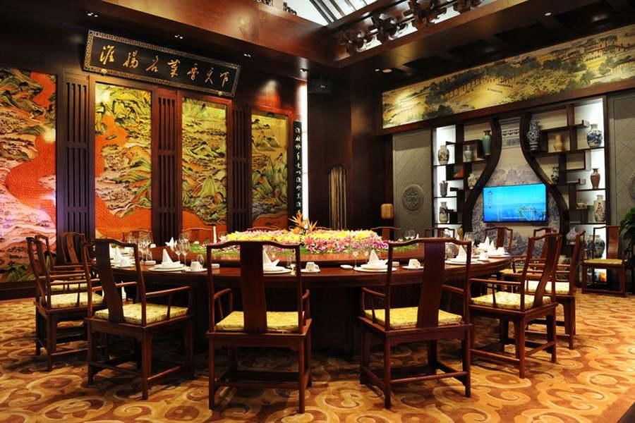 北京中式餐厅装修完工图 酒楼中式设计室内效果图